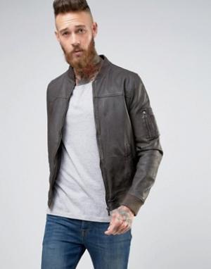 Goosecraft Коричневая кожаная куртка-пилот. Цвет: коричневый