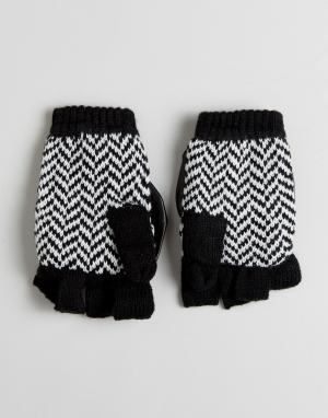 Plush Варежки для сенсорного экрана с флисовой подкладкой и узором в елочку. Цвет: черный