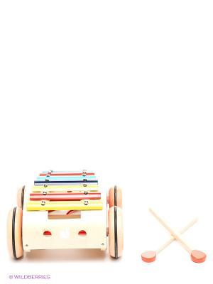 Каталка на веревочке Ксилофон Janod. Цвет: красный