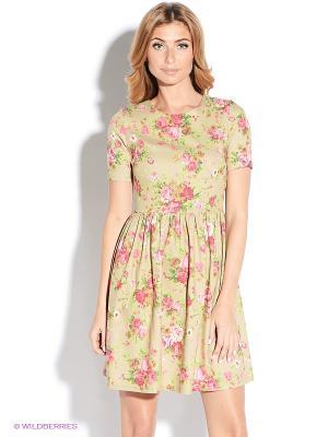 Платье TuttoBene. Цвет: бежевый, розовый