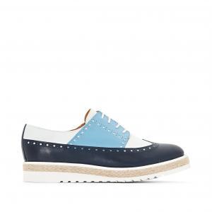 Ботинки-дерби из кожи трех цветов atelier R. Цвет: синий морской,телесный