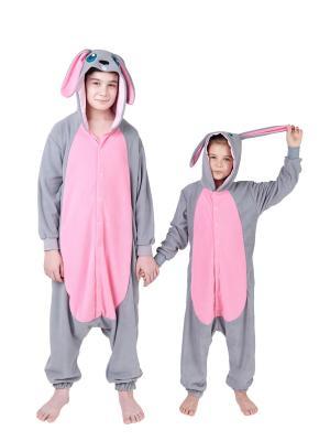Комбинезон кигуруми Кролик НЕЛЬСОН HandyWear. Цвет: серый, розовый