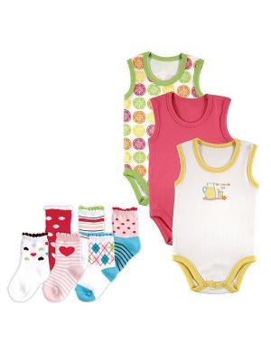 Комплект Боди-майка, 3 шт., + Носочки, 6 пар Luvable Friends. Цвет: малиновый, розовый