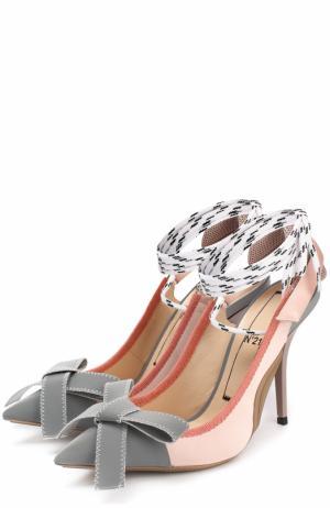 Туфли с бантом и декорированным ремешком No. 21. Цвет: серый