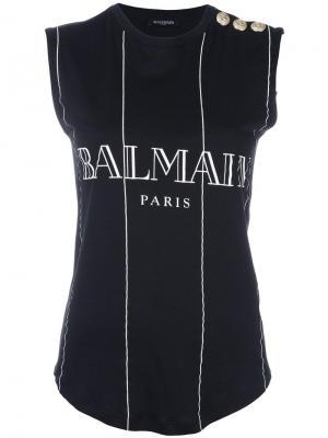 Топ в полоску с логотипом Balmain. Цвет: чёрный
