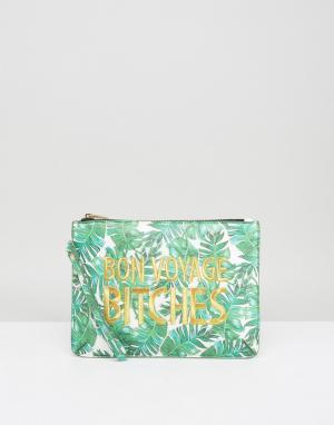 Skinnydip Клатч с пальмовым принтом и надписью Bon Voyage Bitches. Цвет: зеленый