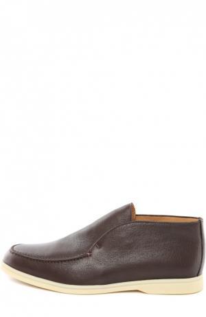 Кожаные ботинки без шнуровки Loro Piana. Цвет: темно-коричневый