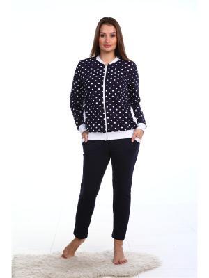 Домашний костюм-куртка и зауженные брюки NAGOTEX. Цвет: темно-синий, белый