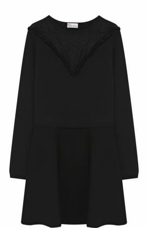 Приталенное мини-платье с длинным рукавом REDVALENTINO. Цвет: черный