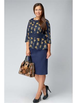 Костюм (блуза+юбка) Amarti. Цвет: синий