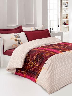 Постельное белье Кармин Тет-а-Тет. Цвет: бордовый, бледно-розовый