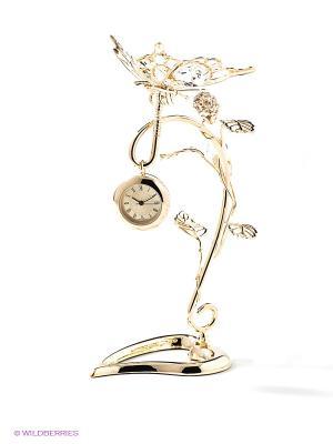 Композиция с часами Бабочка на ветке Юнион. Цвет: золотистый