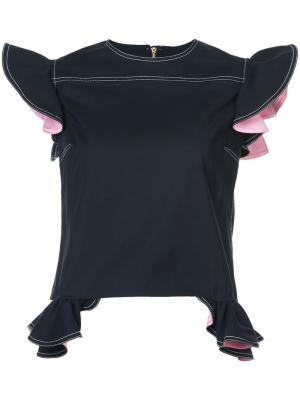 Блузка с оборками Harvey Faircloth. Цвет: синий