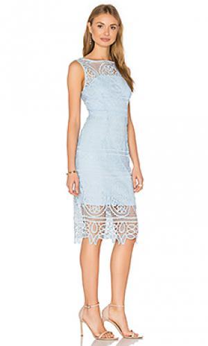 Платье с высоким горлом lady like Lumier. Цвет: синий