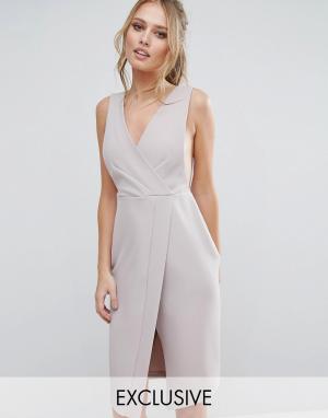 Closet London Платье миди с V-образным вырезом и запахом - Серый 5576718
