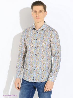 Рубашка Sisley. Цвет: серый, горчичный