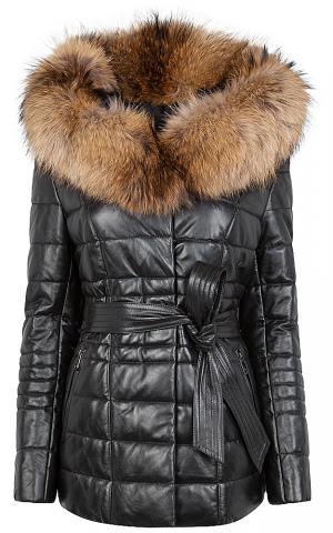 Куртка из натуральной кожи с поясом и отделкой мехом енота La Reine Blanche