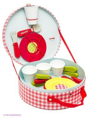 Набор посуды Пикник Janod. Цвет: красный