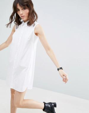 ASOS Хлопковое платье-рубашка без рукавов. Цвет: белый