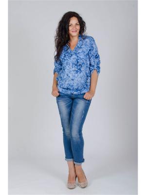 Блузка Лагуна. Цвет: синий, белый