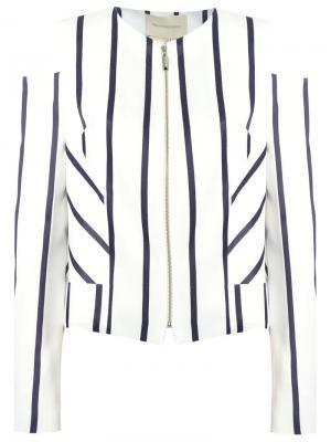 Striped panelled blazer Giuliana Romanno. Цвет: белый
