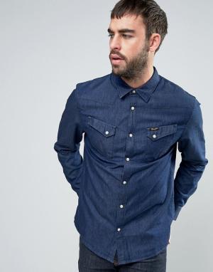 Wrangler Джинсовая рубашка с карманами. Цвет: синий