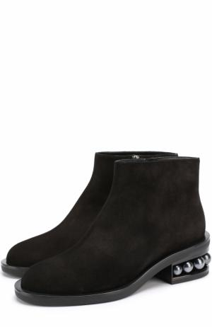 Замшевые ботинки на декорированном каблуке Nicholas Kirkwood. Цвет: черный