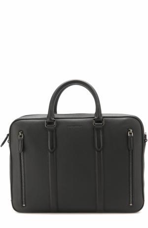 Кожаный портфель для ноутбука с плечевым ремнем Ermenegildo Zegna. Цвет: темно-синий