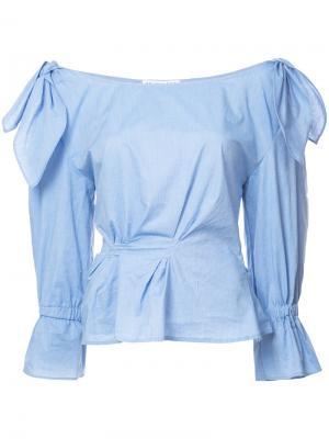 Рубашка Michelle из поплина Rejina Pyo. Цвет: синий