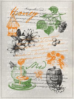 Полотенца Медовая тема, 2 шт., с петелькой GrandStyle. Цвет: зеленый, светло-серый, рыжий