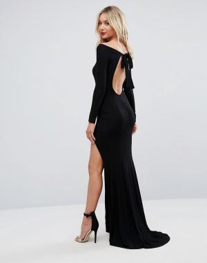 ASOS Платье макси с открытой спиной и длинными рукавами. Цвет: черный