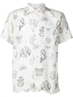 Рубашка с принтом в морском стиле Rrl. Цвет: белый