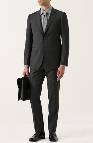 Шерстяной костюм с пиджаком на двух пуговицах Lanvin. Цвет: темно-серый