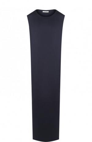 Однотонное шелковое платье-макси The Row. Цвет: темно-синий