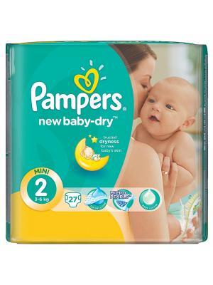 Подгузники New Baby-Dry 3-6 кг, 2 размер, 27 шт. Pampers. Цвет: зеленый