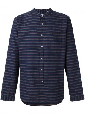 Рубашка Textured Grandad Collar Oliver Spencer. Цвет: синий