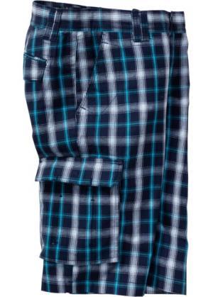 Бермуды карго стандартного покроя (темно-синий/белый в клетку) bonprix. Цвет: темно-синий/белый в клетку