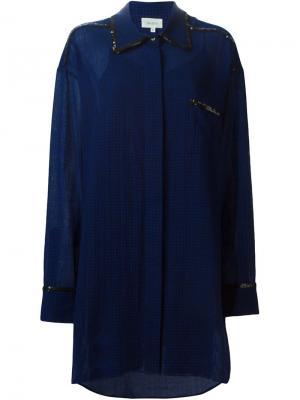 Клетчатое платье-рубашка с отделкой из пайеток Isa Arfen. Цвет: синий