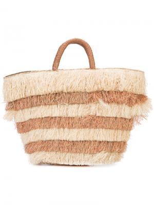 Многоярусная пляжная сумка с бахромой Kayu. Цвет: коричневый