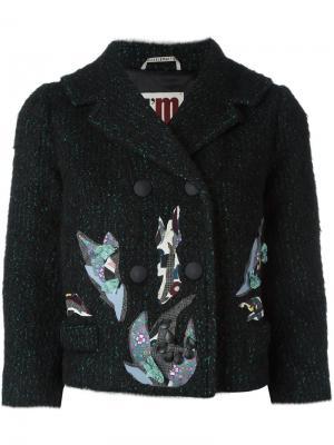 Укороченный пиджак с контрастными заплатками  IM Isola Marras I'M. Цвет: чёрный