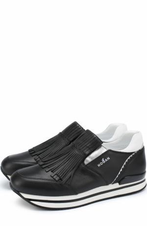 Кожаные кроссовки с бахромой Hogan. Цвет: черный