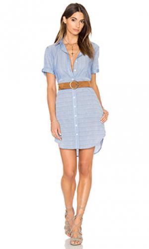 Платье-рубашка с коротким рукавом FRAME Denim. Цвет: синий