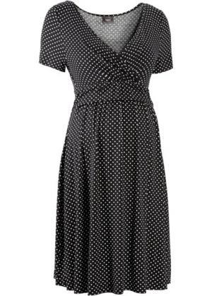 Мода для беременных и кормящих мам: трикотажное платье-стретч с коротким рукавом (черный/белый в горошек) bonprix. Цвет: черный/белый в горошек