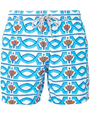 Пляжные шорты с геометрическим принтом Capricode. Цвет: синий