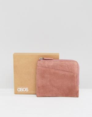 ASOS Розовый замшевый кошелек на молнии. Цвет: розовый