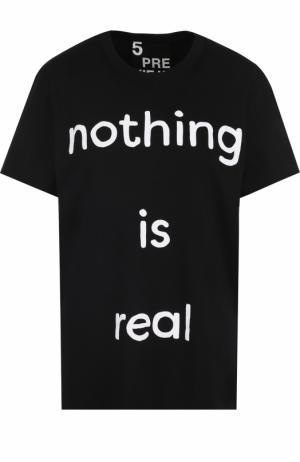 Хлопковая футболка с круглым вырезом и принтом 5PREVIEW. Цвет: черный