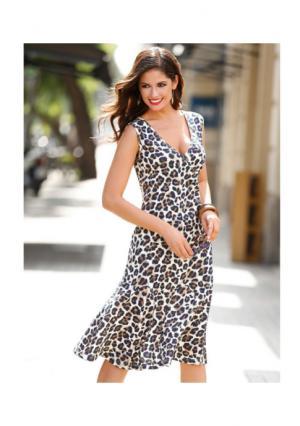 Платье Venca. Цвет: коричневый с рисунком