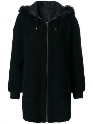 Пальто с капюшоном Meteo By Yves Salomon. Цвет: чёрный