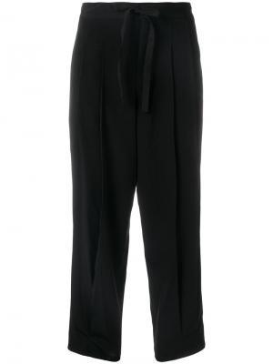 Pleated tie waist trousers Ys Y's. Цвет: чёрный