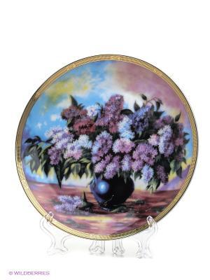 Тарелка Букет сирени Elan Gallery. Цвет: сиреневый, розовый, синий